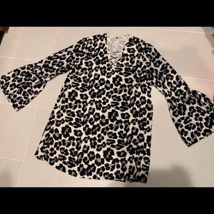 Leopard Print Party Bell Sleeve Shift Dress